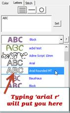 Navigating the Font list