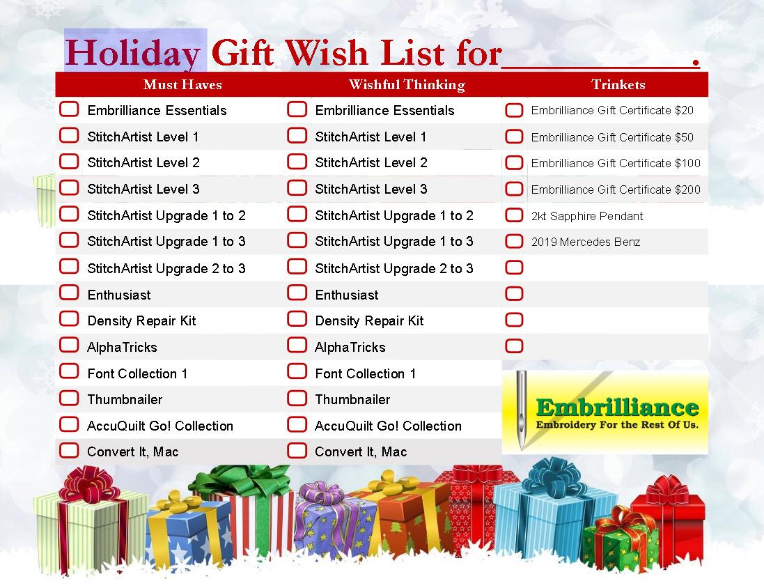 Embrilliance Holiday wish List 2018