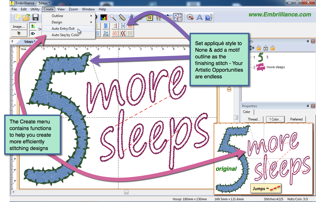 StitchArtist Embroidery Digitizing Software S diagram featuring the applique style and a '5 more sleeps' design shwoing the way StitchArtist handles jump stitches.