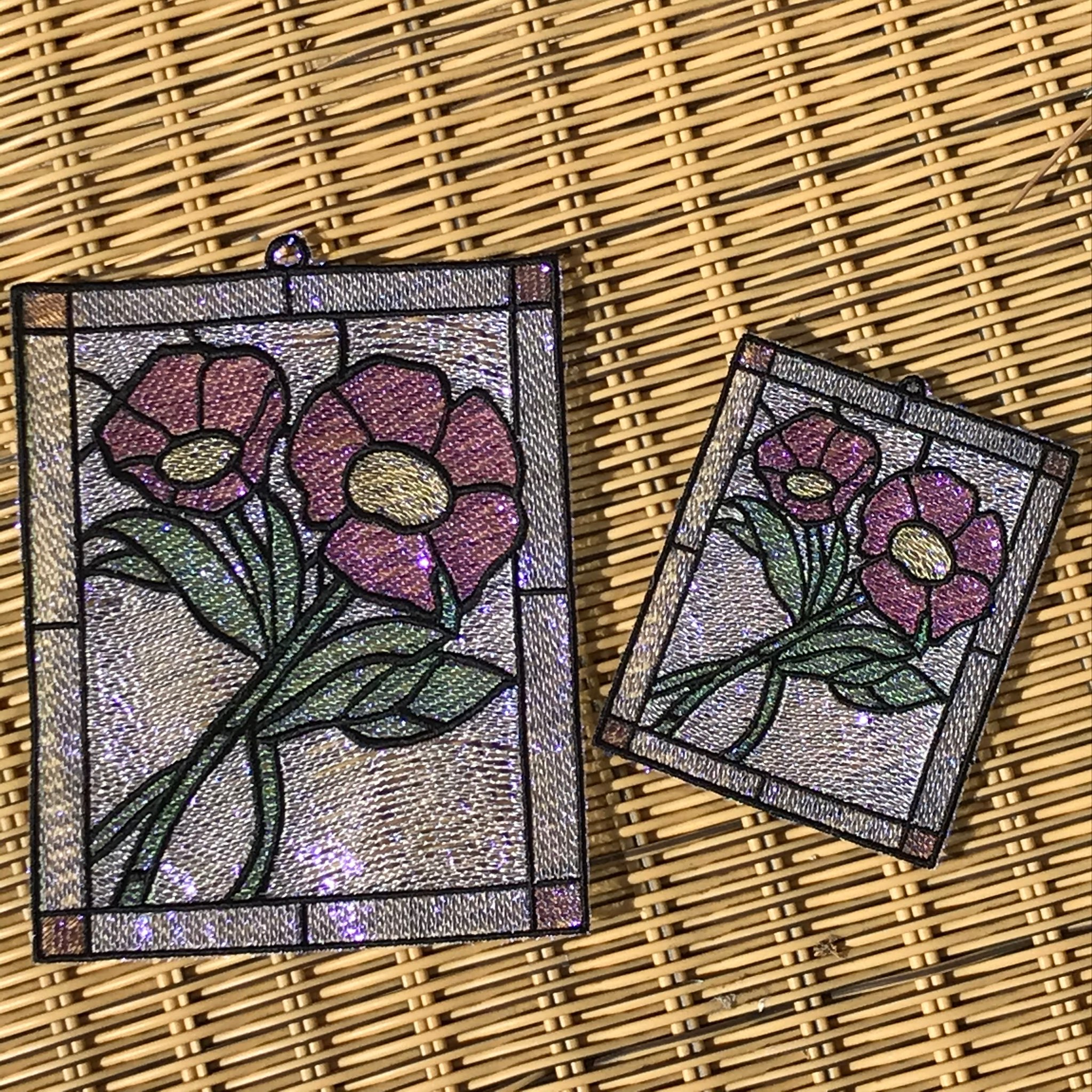 Stained Glass Mylar Machine Embroidery Design by Lisa Shaw for Embrilliance