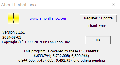 About page for Embrilliance 1.161