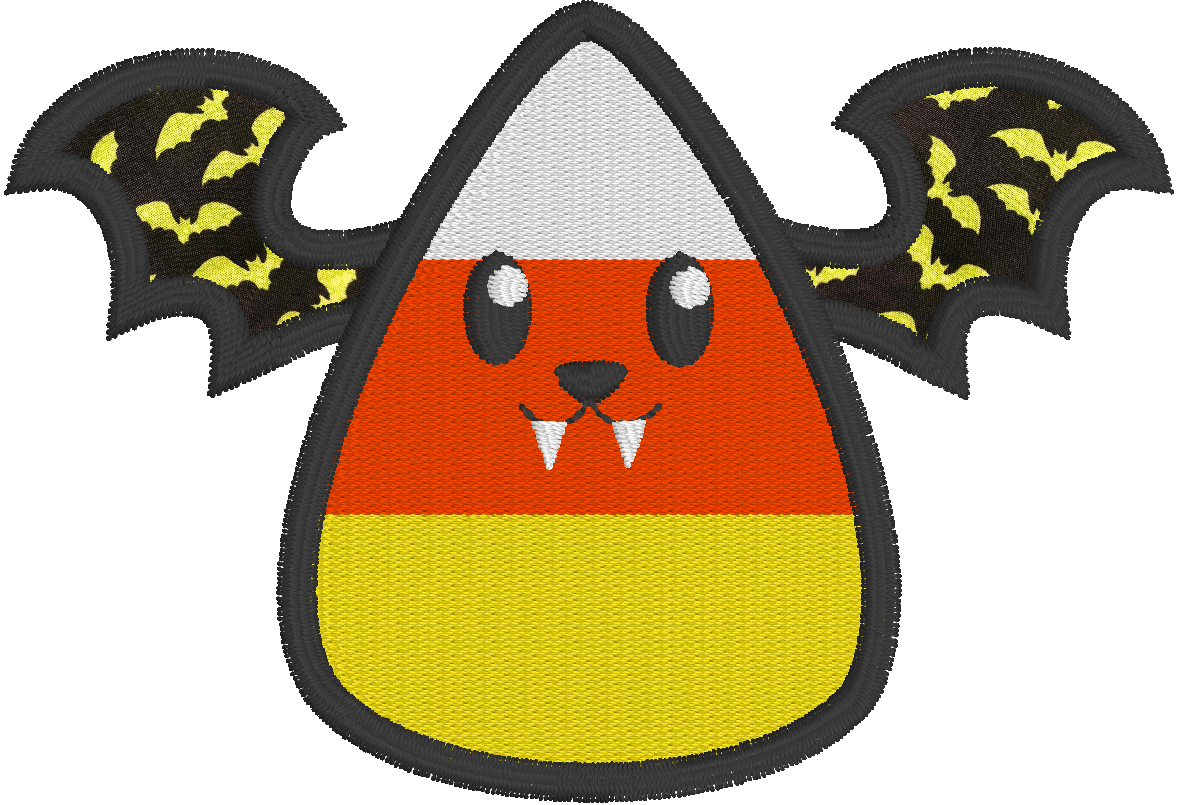Free Appllique Embroidery Design created in Embrilliance StitchArtist featuring a Candy Corn Vampire