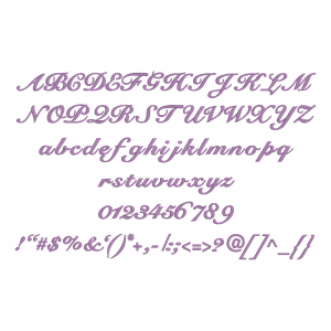All characters available in Embrilliance Essential's Bold CursiveFont