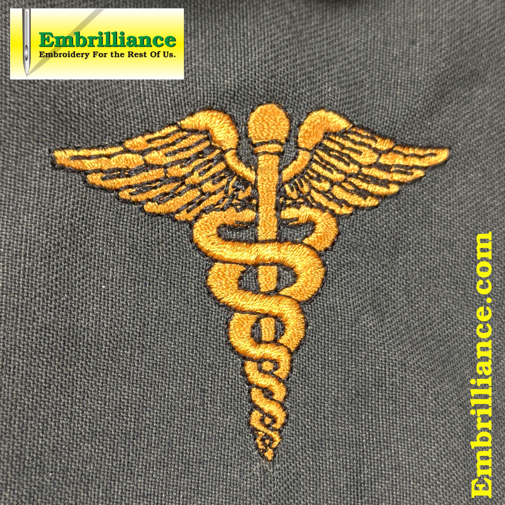 Stay Strong and Stitch On #3 – Nursing Caduceus Embroidery Design