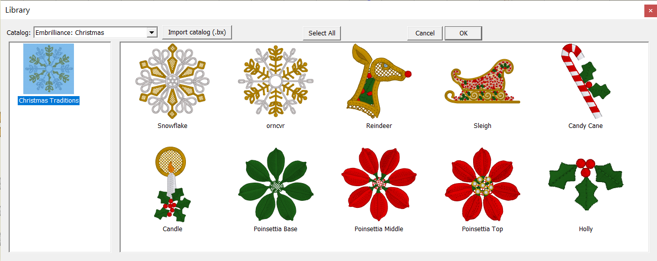 Embrilliance Christmas Traditions Interactive Design Library