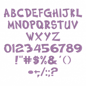 All characters available in Embrilliance Essential's Comedy Font