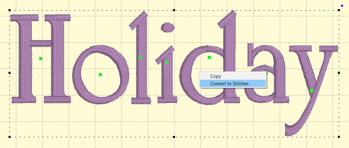 Easily convert text objects to stitch blocks with 2 clicks.
