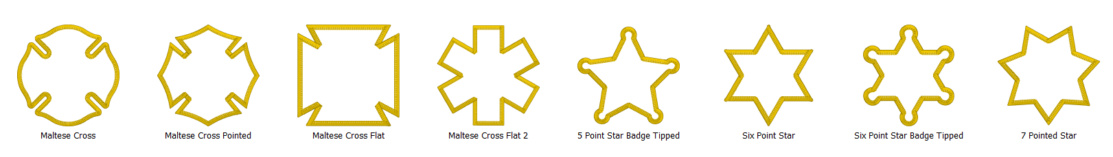 Merrowly Faux Merrow Stitch Patch Edge Embroidery Designs Scalable Examples of Crosses and Stars for Embrilliance Software