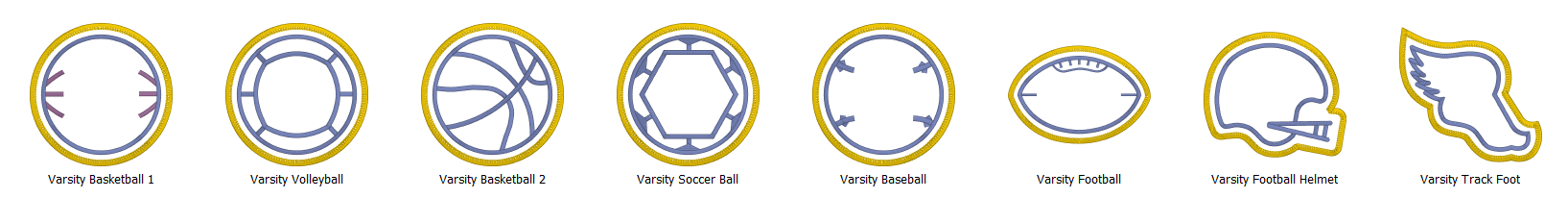 Merrowly Faux Merrow Stitch Patch Edge Embroidery Designs Scalable Examples of Varsity Sports for Embrilliance Software