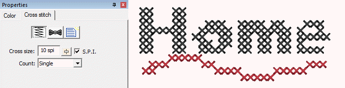 CrossStitch or Xstitch fill properties as showin in StitchArtist Embroidery Digitizing Software