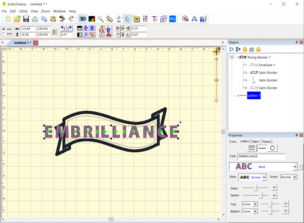 Editing and Spacing Lettering in Embrilliance Embroidery Software