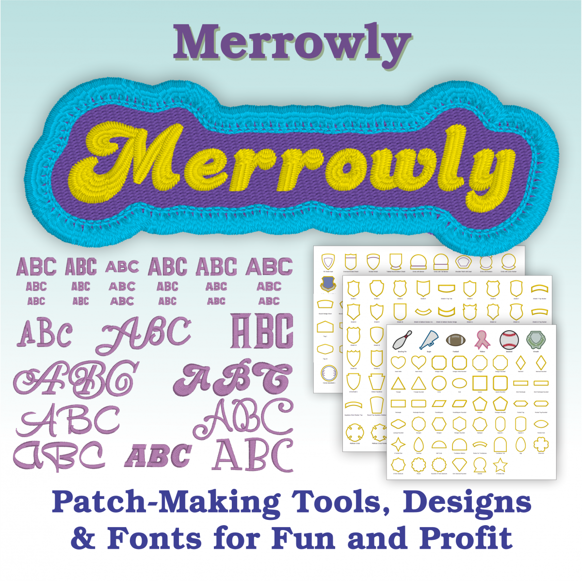 Cover for Embrilliance's Merrowly Automatic Patch Making Tool for Faux Merrow Edges for Machine Embroidery Designs including stock patch edge shapes and scalable fonts.