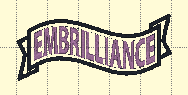 Embrilliance Embroidery Text in an Envelope Ribbon Design