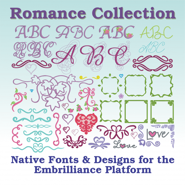 Embrilliance Embroidery Software Romance Collection 1 - Romantic Embroidery Designs Collection
