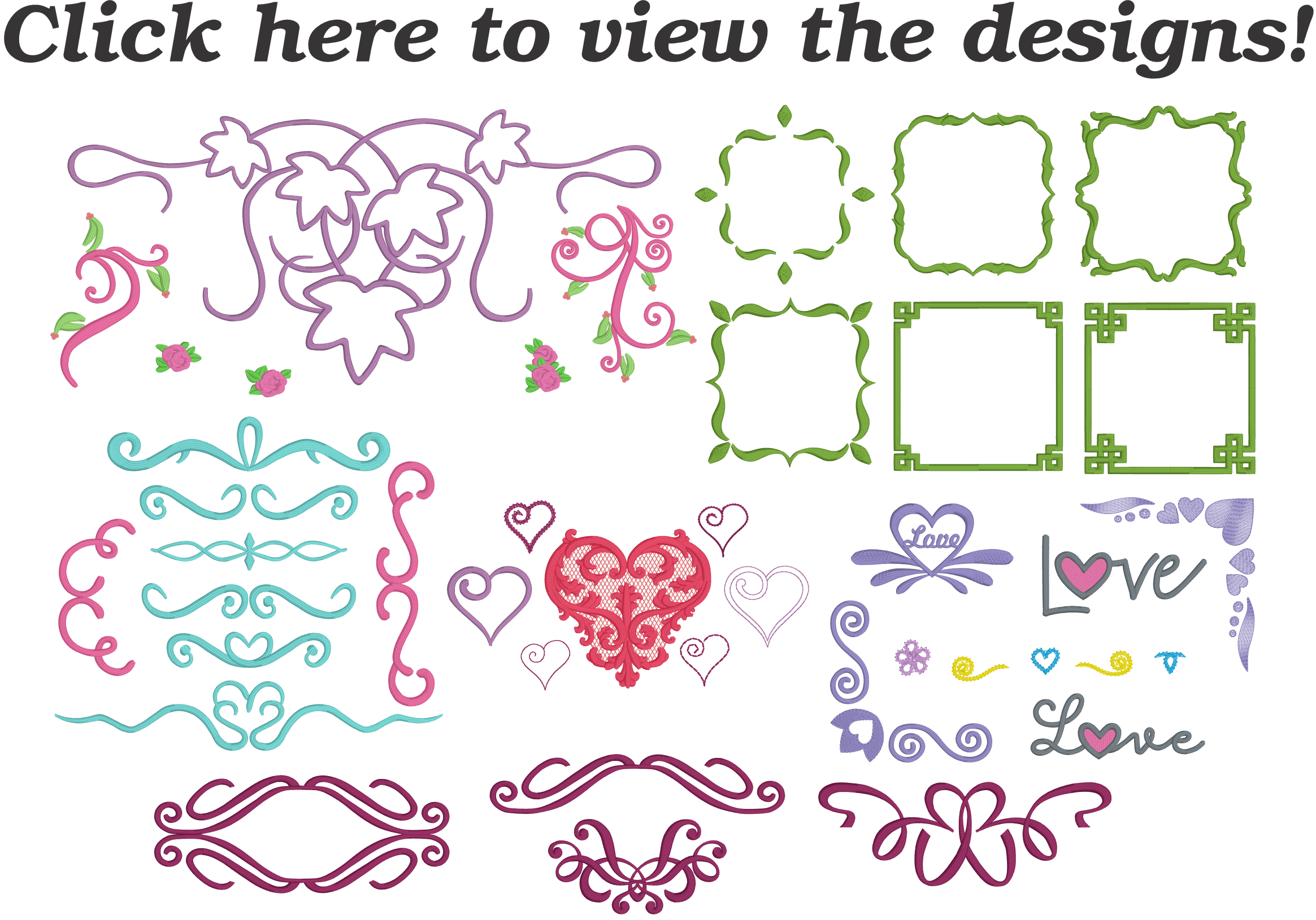 Sheet showing all of the romantic embroidery designs included in the Embrilliance Embroidery Software Romance Collection 1