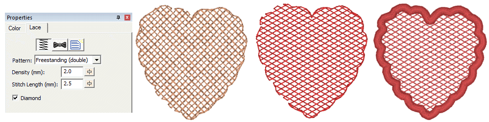 FreeStanding lace objects and properties in StitchArtist Embroidery Digitizing Software showing a lace heart embroidery design