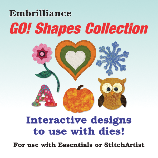 Virtual cover for Accuquilt Go Shapes Collection 1 for Embrilliance