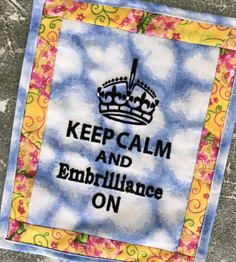 Keep Calm Embroidery Design Project