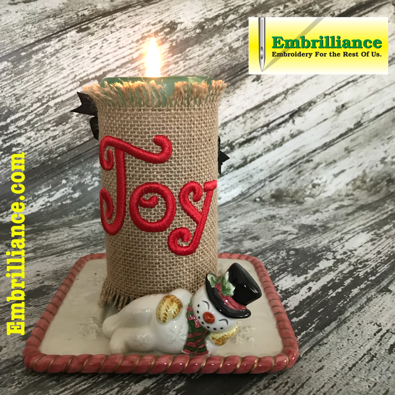 Joy 3D Foam embroidery Candle wrap created in Embrilliance stitchartist software