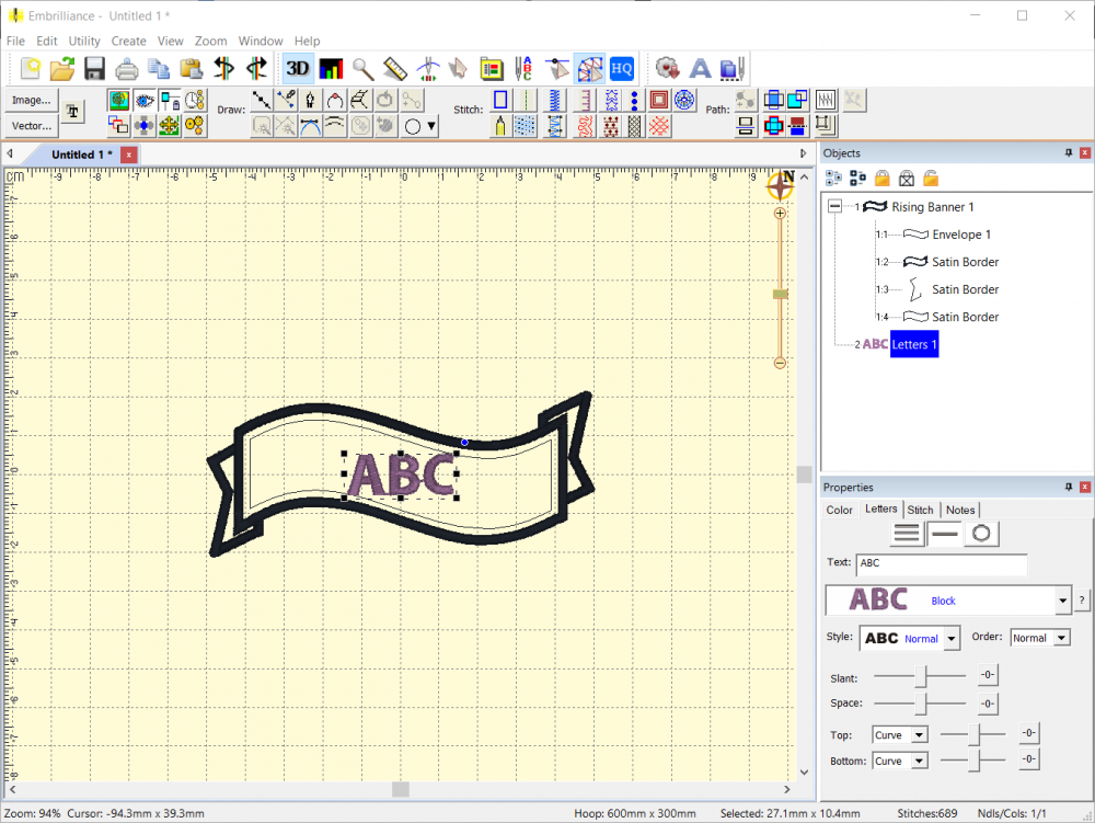 Lettering Object added atop Envelope Shape in the Embrilliance Platform