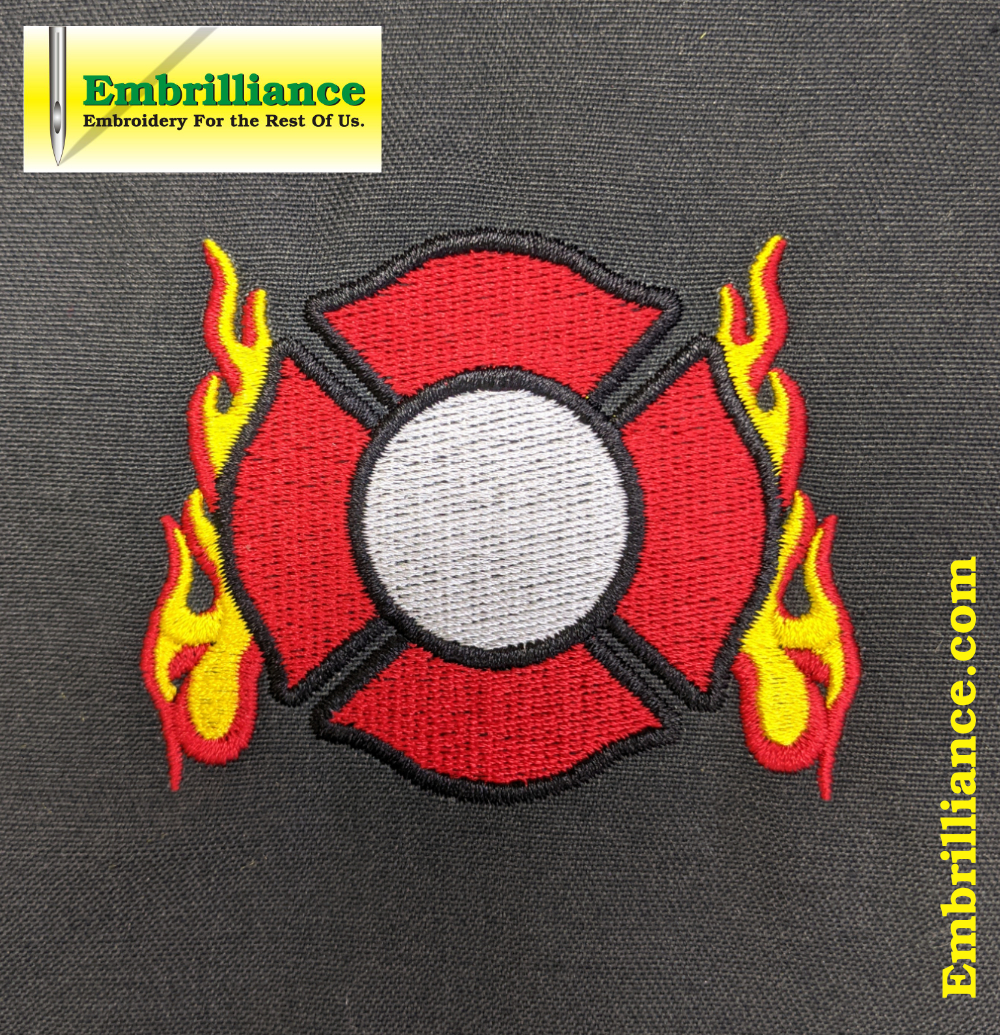 Stay Strong & Stitch On #20: Firefighters' Maltese Cross with Flames Embroidery Design
