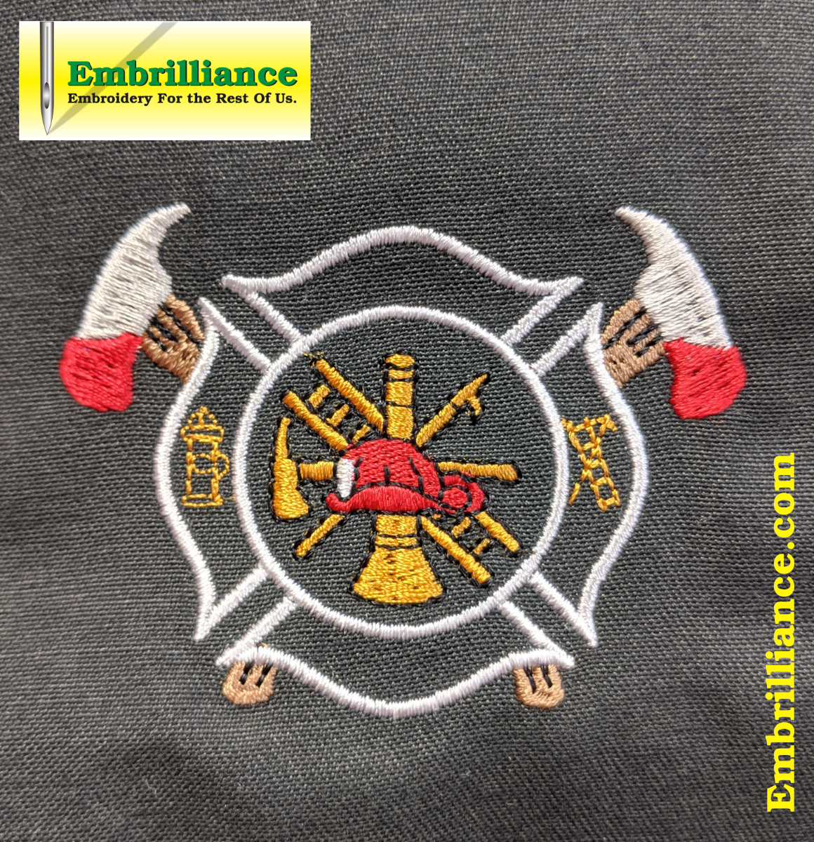 Stay Strong and Stitch On #25 – Firefighters' Maltese Cross with Crossed Axes Embroidery Design