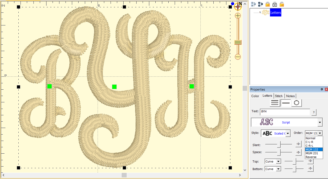 Sequence monograms to leave the center letter on top for dimensional treatments on overlapping letters.