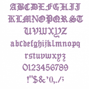 All characters available in Embrilliance Essential's Old English Font