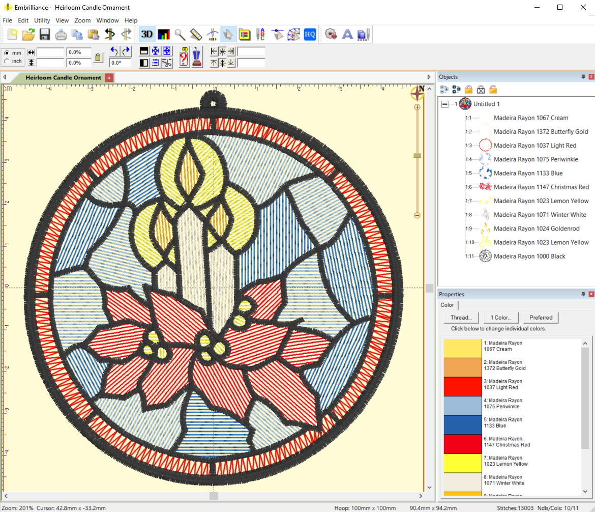 Mylar Stained Glass Christmas Candle Ornament file in Embrilliance Software