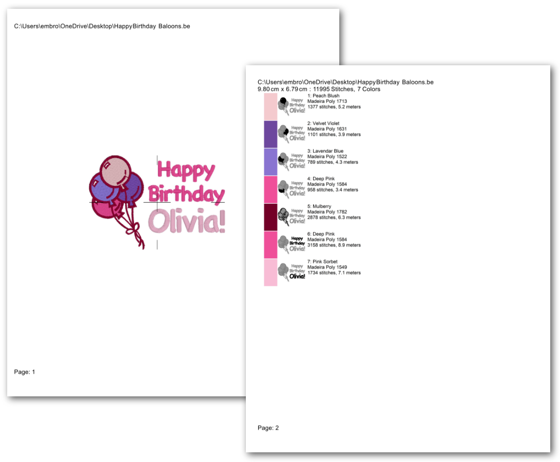 Print properly sized templates and color run sheets from your embroidery designs.
