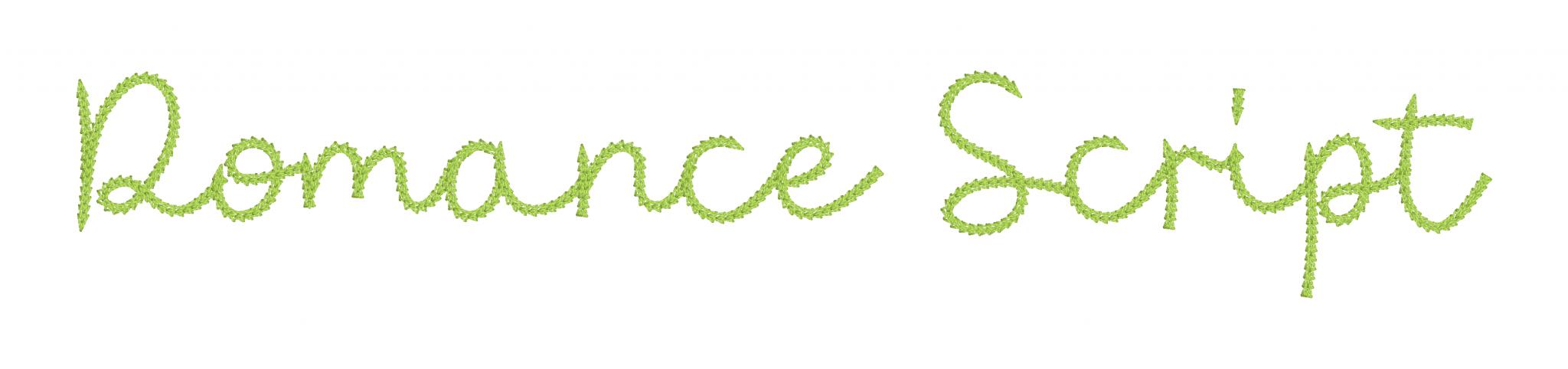 Romance Chain Stitch Script Example in Native Embrilliance Script Fonts