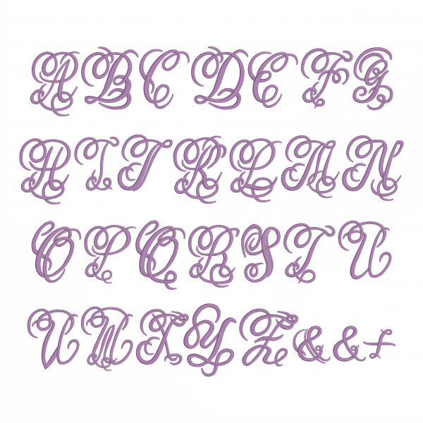 Embrilliance Embroidery Software Native Embroidery Romance Dreamy Script Font Page with all Letters