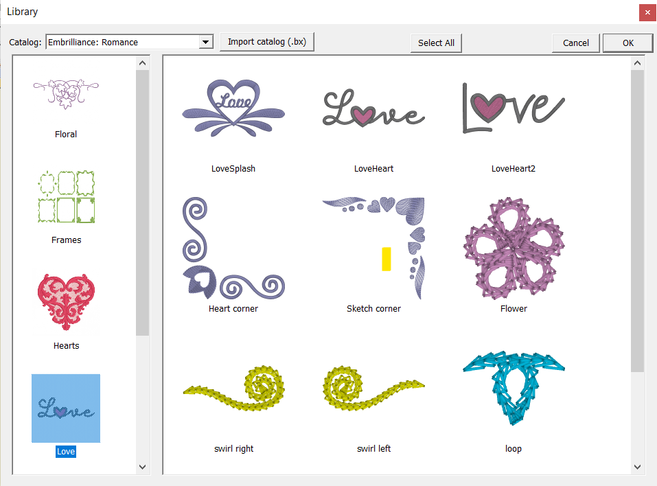Embrilliance Romance Embroidery Design Library