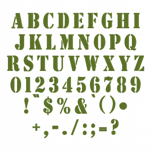 All characters available in Embrilliance Essential's Stencil Font