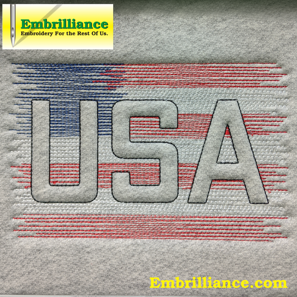 Free USA Flag-Inspired Scribble Trapunto Embroidery Design for Independence Day