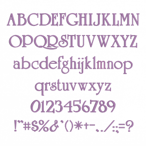 All characters available in Embrilliance Essential's University Font