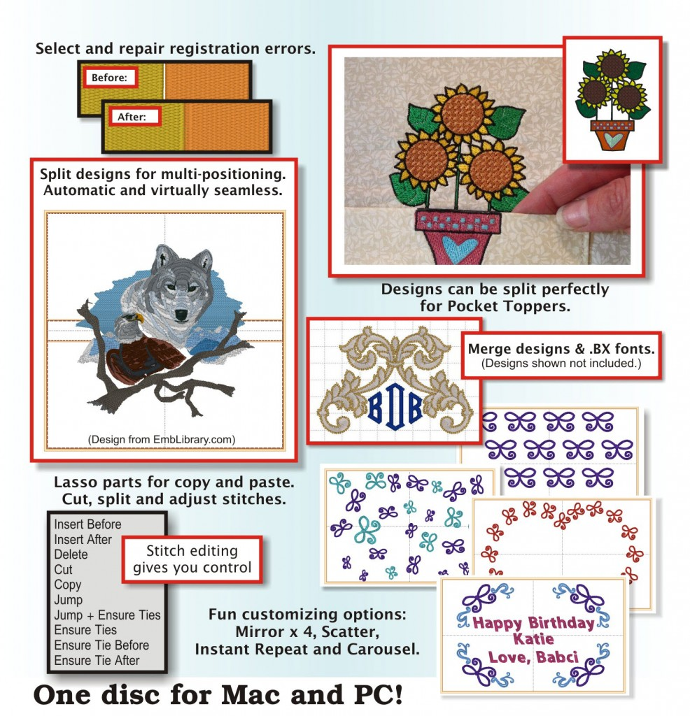Embrilliance Enthusiast functions enumerated with embroidery design examples