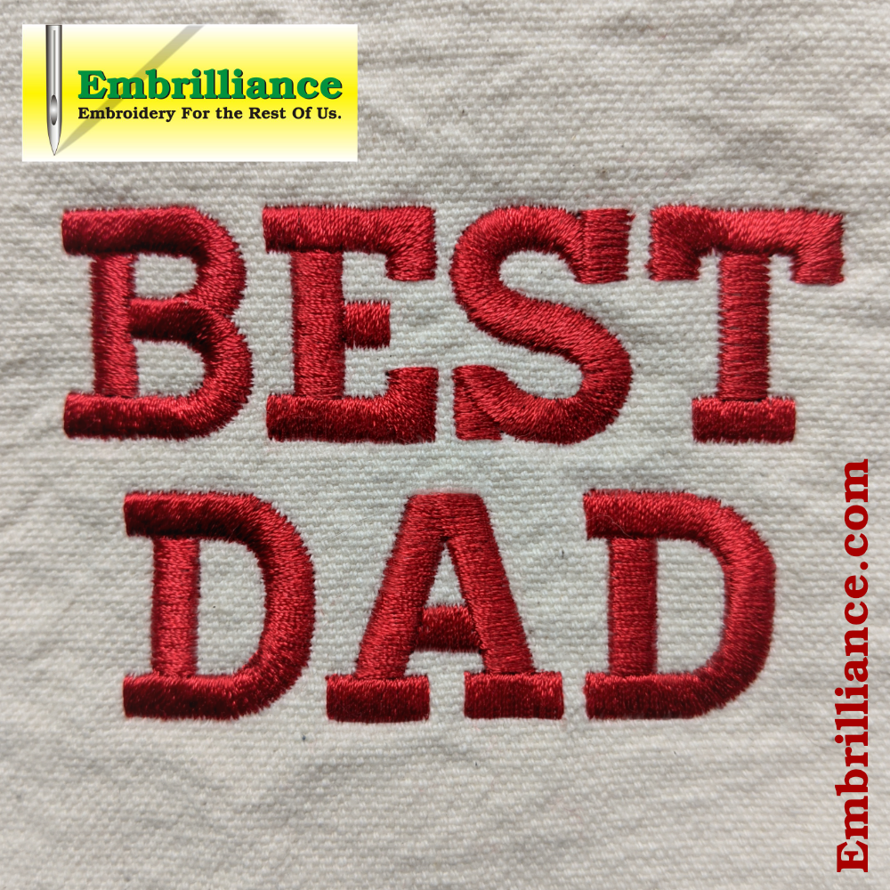 Show your Dad he's the Best with a Quick-Stitching Text Design!