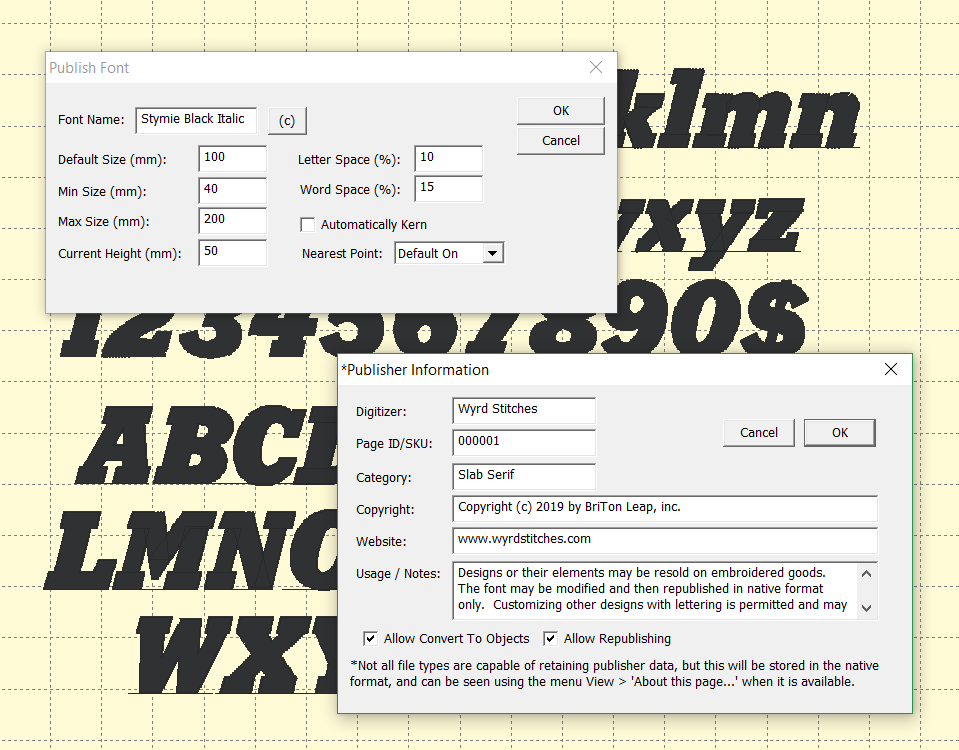 Custom Font Publishing showing a typeface and the publishing tools