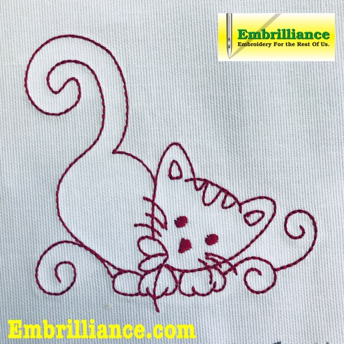 Redwork/Vintage Embroidery Style Kitty Free Design