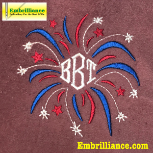 Shows the preview of the free patriotic fireworks monogram frame embroidery design