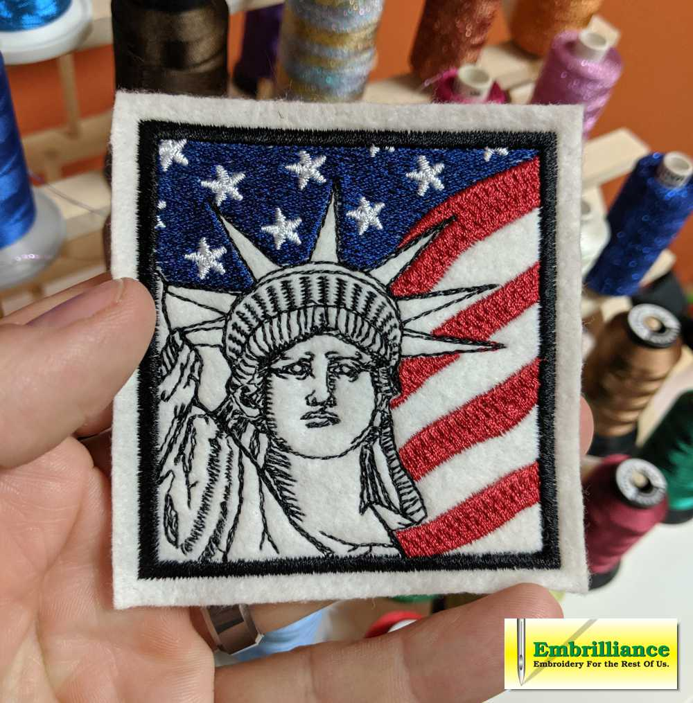 Free Statue of Liberty Embroidery Design and Patch Project