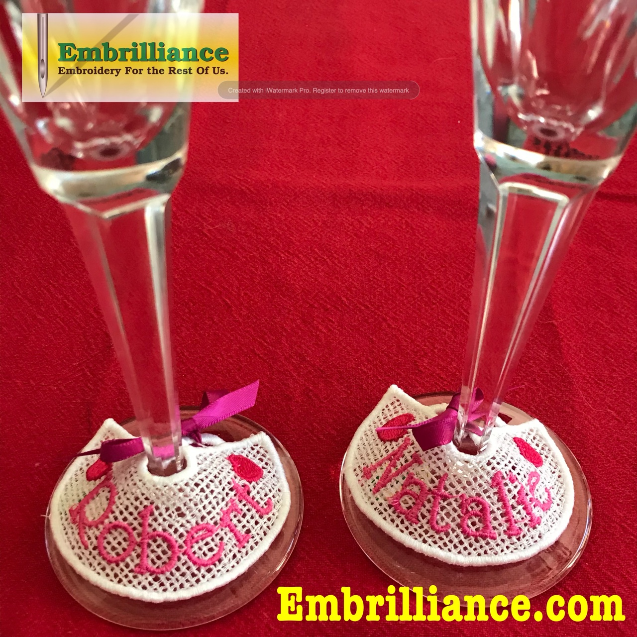 Love-ly Free Standing Lace Wineglass Tags