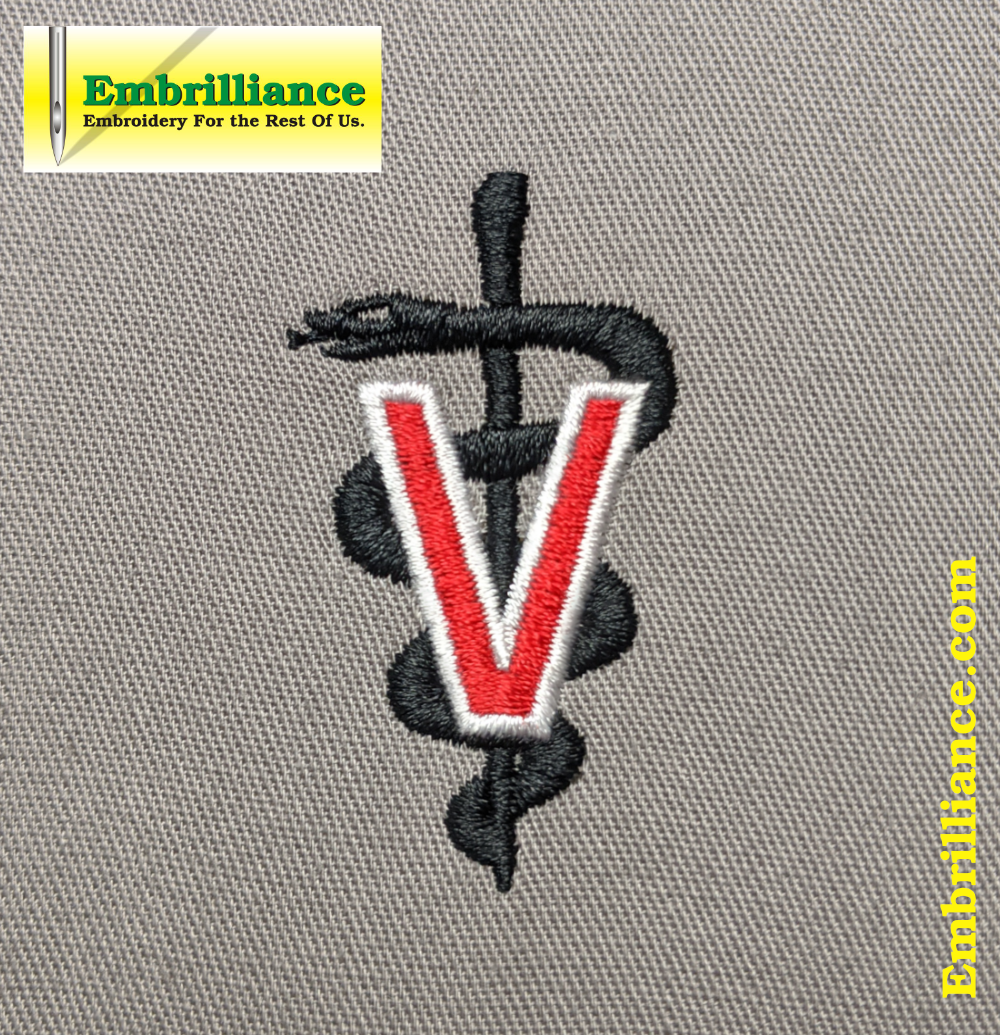 Stay Strong & Stitch On! #12 – Veterinary Symbol Embroidery Design